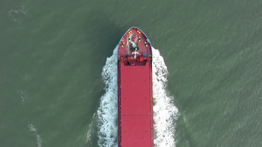 Supertanker Ship At Sea From a Bird's Eye View Used to Move Cargo Around the Globe #1016210116