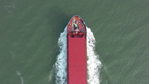 Supertanker Ship At Sea From a Bird's Eye View Used to Move Cargo Around the Globe