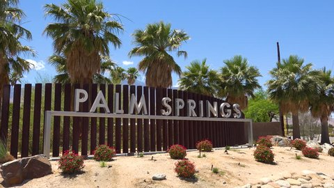 CIRCA 2018 - Establishing shot of the welcome to Palm Springs sign, California.