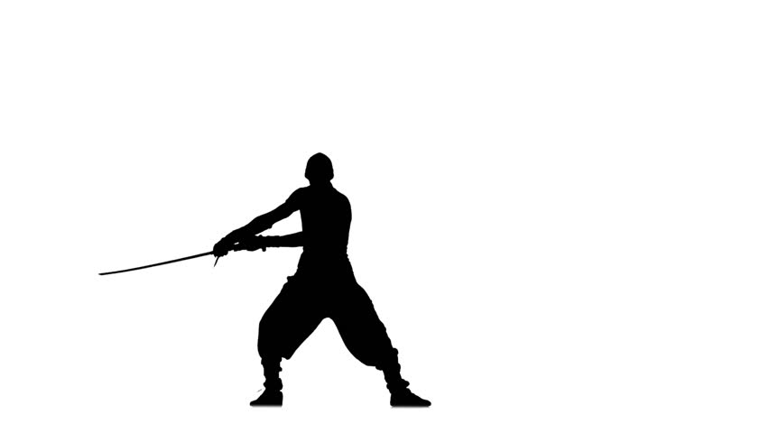 Silhouette of man with sword on white background, martial arts, waving a sword. silhouette, ninja style