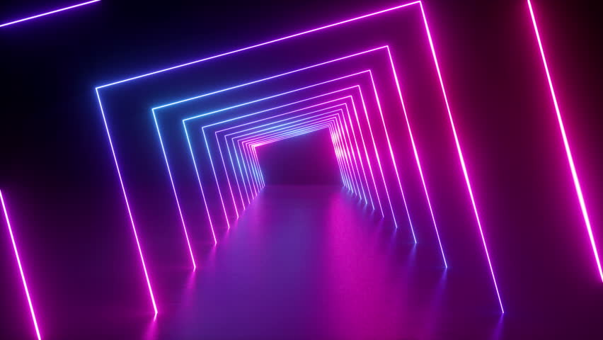 3d render, abstract geometric background, fluorescent ultraviolet light, glowing neon lines rotating tunnel, blue red pink purple spectrum, spinning around, modern colorful illumination, 4k animation