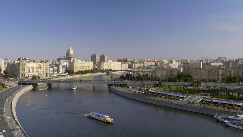 View of the Moscow river embankment time lapse | Shutterstock HD Video #1016300116