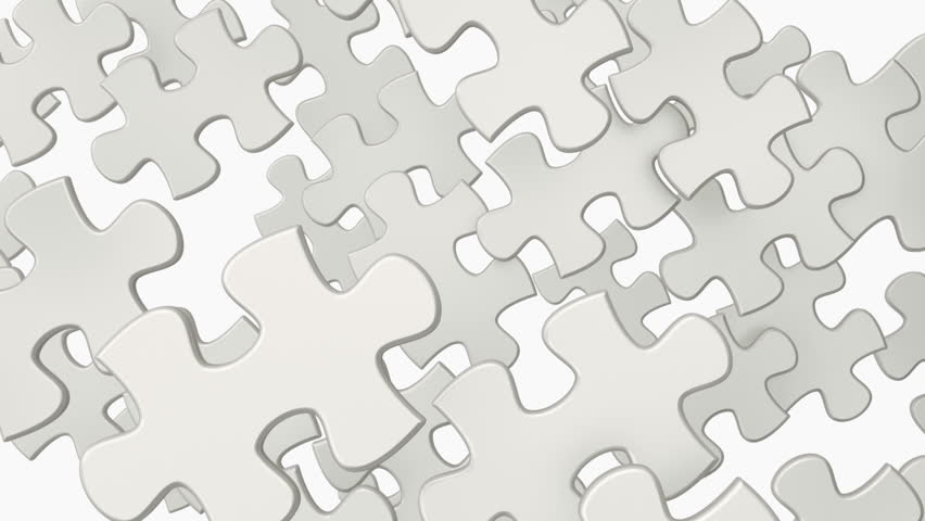 Puzzle elements create whole jigsaw and later disintegrate in space. Animation of puzzle video transition with black and white mask included.