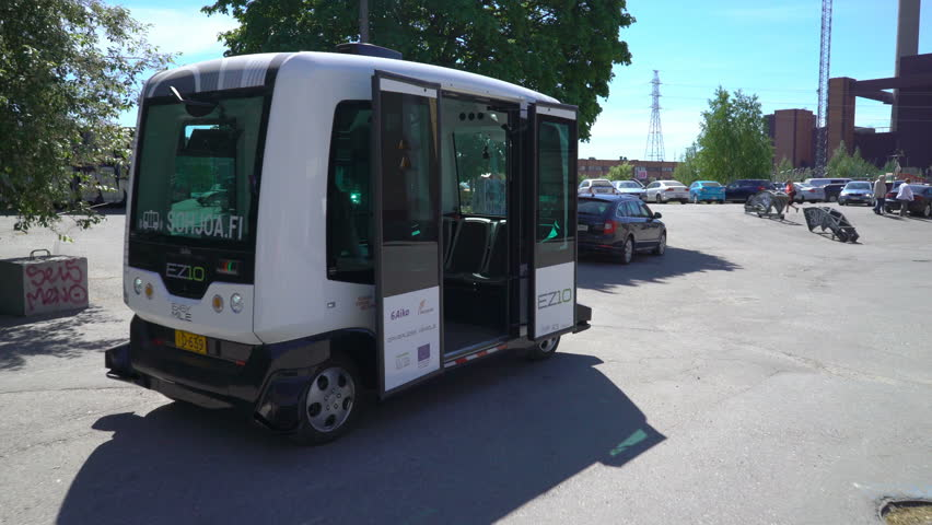 HELSINKI, FINLAND - MAY 25, 2018: Automated remotely operated bus in Helsinki. Unmanned public transport on street.