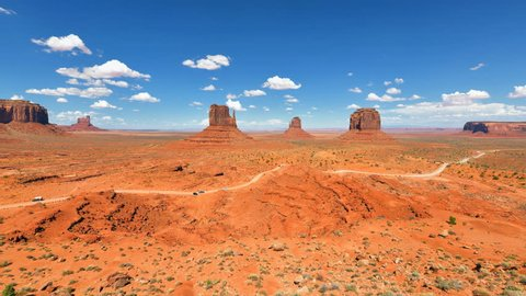 Clouds above the Monument Valley Navajo Tribal Park, Arizona - Utah. Time Lapse 4K.