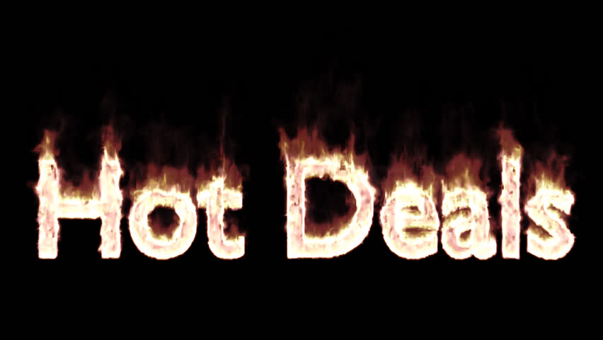 Animated burning or engulf in flames text hot deals for promotional or marketing or commercial use. Fire has transparency and isolated and easy to loop. Alpha channel embedded with PNG file.
