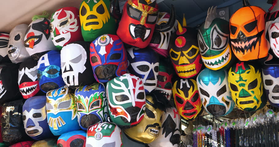 Colorful Mexican Lucha Libre wrestling masks at the Mexican cultural festival in Los Angeles, California, 4K
