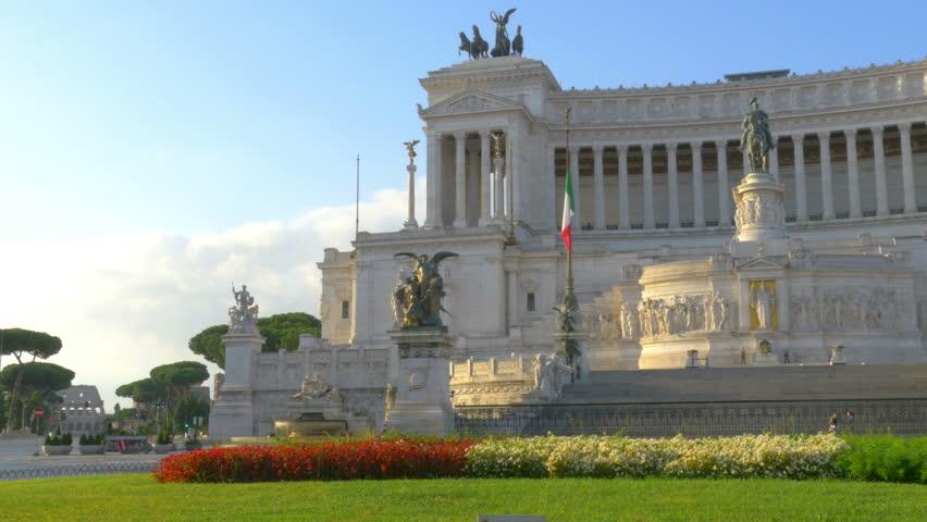 4k, Panorama of the Monument of Vittoriano in Venezia square, at sunrise. Rome. Italy