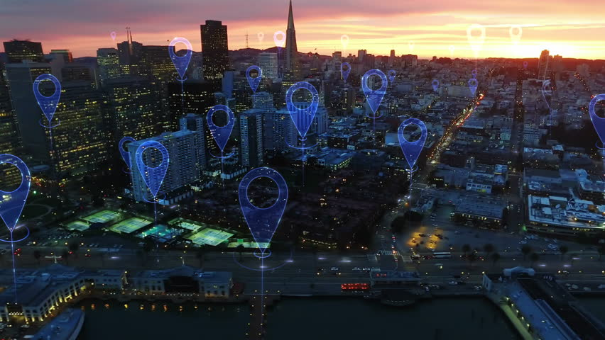 Aerial smart city. Localization icons in a connected futuristic city.   Technology concept, data communication, artificial intelligence, internet of things. San Francisco skyline. | Shutterstock HD Video #1016477836