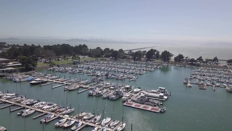 A boat with tourists arrives in Marina Berkeley with beautiful view on San Franciso