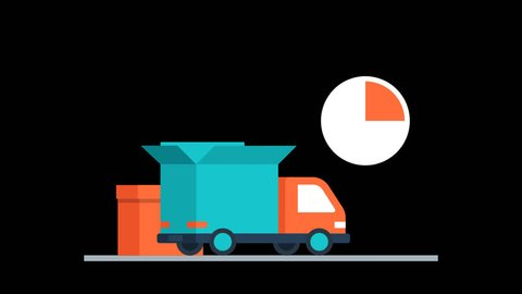On Time Courier Parcel Delivery Animation Transparent Vector Motion Graphics Loop