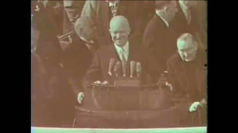 CIRCA 1953 - President Eisenhower is inaugurated (narrated by James Cagney in 1965).
