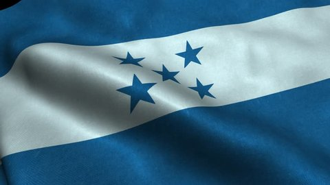 Photorealistic 4k Close up of honduras flag slow waving with visible wrinkles and realistic fabric. A fully digital rendering, 3D Animation. 15 seconds 4K, Ultra HD resolution honduras flag animation.