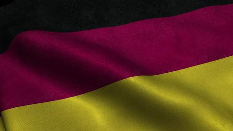 Photorealistic 4k Close up of germany flag slow waving with visible wrinkles and realistic fabric. A fully digital rendering, 3D Animation. 15 seconds 4K, Ultra HD resolution germany flag animation.