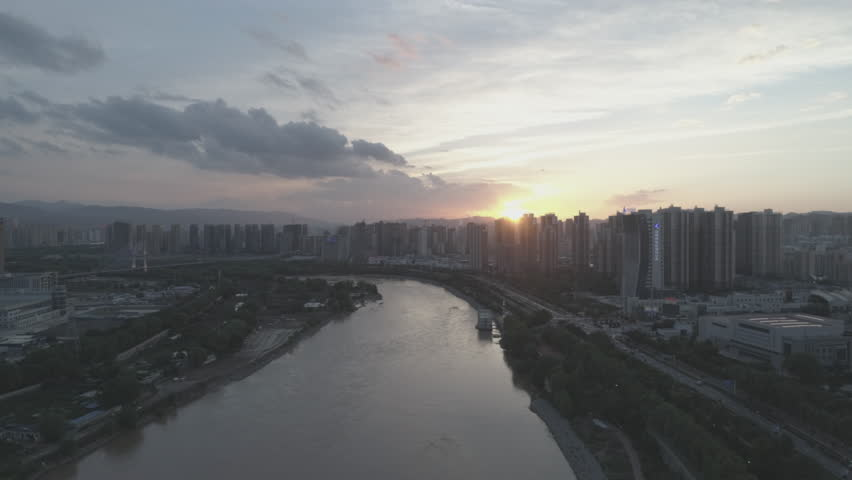 Aerial video of sunset