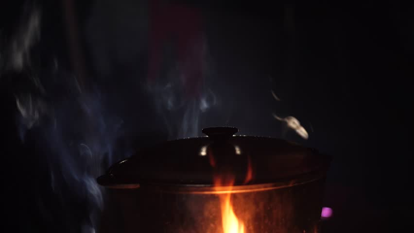 Girl witch cooking an infernal potion in a cauldron at the stake in a dark forest. The Art of Halloween