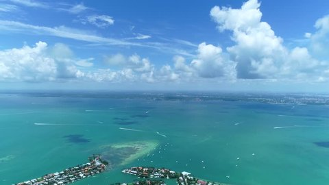 Drone shot revealing and flyover of Key Biscayne, Miami, Florida.