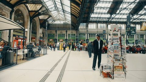 PARIS, FRANCE, circa MAY, 2017: Interior of Gare de Lyon - Paris. The station is served by high-speed TGV trains to south and eastern France, Switzerland, Germany, Italy and Spain. Travel concept
