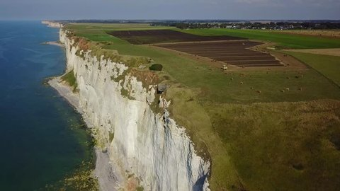Aerial view of flax harvesting on a field near a cliff high above the sea, in Normandy. A German bunker form World War II is at the edge of the cliff, ready to fall.