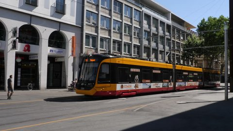 Karlsruhe, Baden-Württemberg, Germany July 15. 2018, downtown street car is driving by