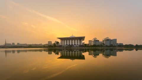Time lapse of sunset and clear sky at the Iron Mosque in Putrajaya, Malaysia with beautiful reflection in water from day to night. Prores Full HD 1080p.
