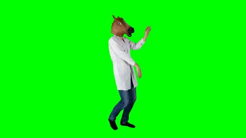 Funny Horse Head Doctor Dancing on Green Screen Having a Blast in Disco Club