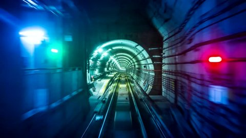 Fast Speed Subway Train Moving Forward Looping 4K Time Lapse