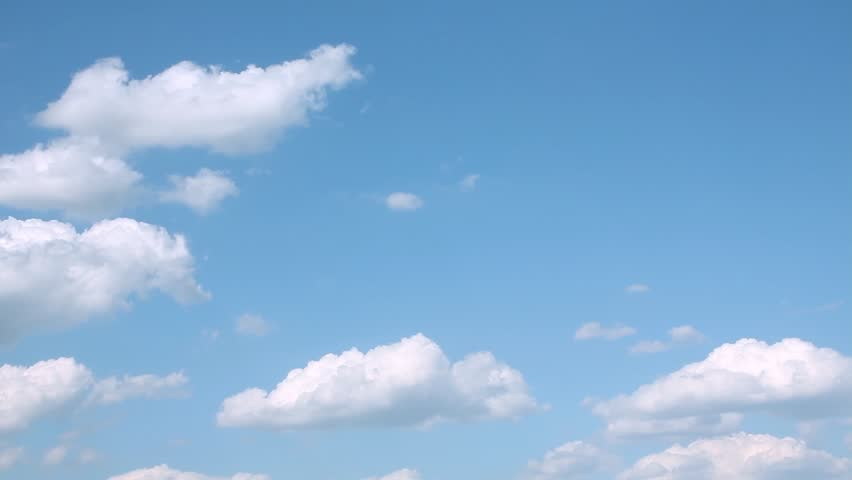 Blue skies in horizon, white rolling & formating clouds time laps, real summer sunny day cloudscape, beautiful panoramic view, fast motion. FHD. #1016716216