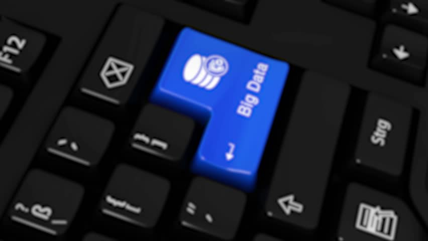 Big Data Rotation Motion On Blue Enter Button On Modern Computer Keyboard with Text and icon Labeled. Selected Focus Key is Pressing Animation. Database Security Concept