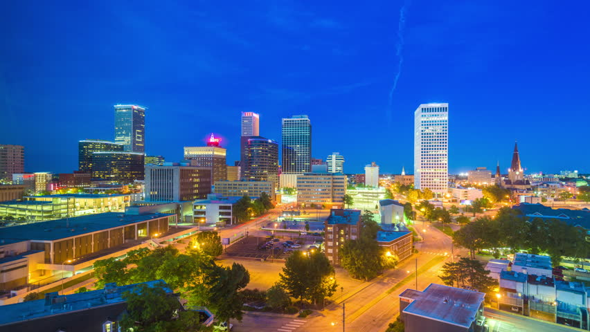 Tulsa, Oklahoma, USA downtown city skyline at twilight.