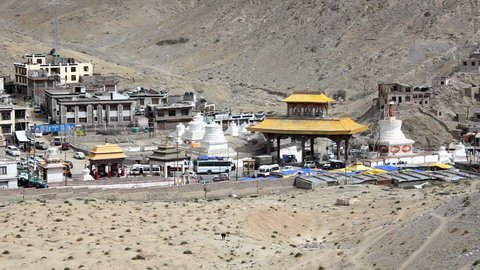 Leh, Ladakh, Jammu and Kashmir/ India - 13.08.2018: Road traffic in an Asian city with temples