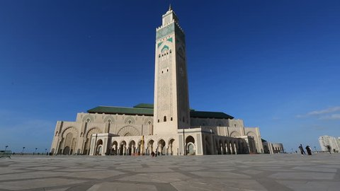 Hassan II mosque in Casablanca, Morocco, timelapse