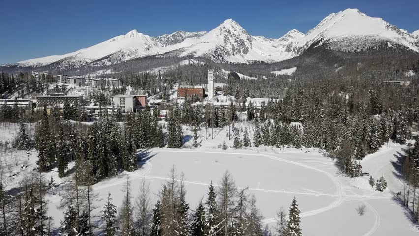 Winter aerial view of Strbske Pleso resort in High Tatras mountains, Slovakia.