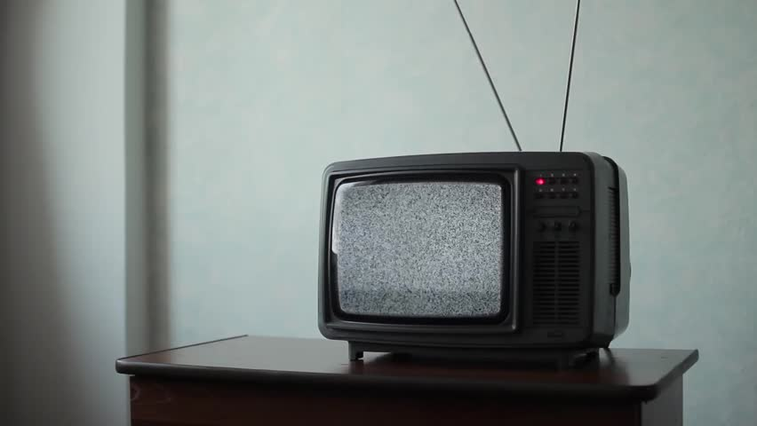 White noise on analogue TV set in room | Shutterstock HD Video #1016839336