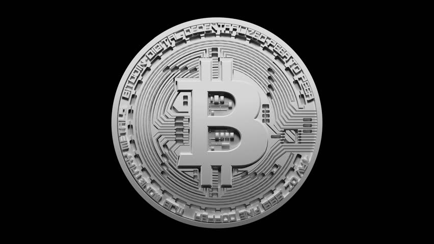 4k Bitcoin Crypto Currency Logo 3D rotates btc coin finance business animation.