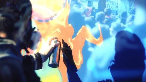 Urban Art ,Anarchy Artist,Graffitti spraying  wall