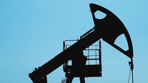 Extraction of petroleum by Pump Jack on an oil well