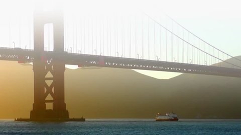 The Golden Gate Bridge at sunset as seen from Chrissy Field, San Francisco, California, USA