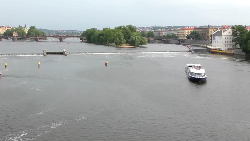 View from the Charles Bridge in Prague, Czech Republic, circa 2015 | Shutterstock HD Video #1016973556