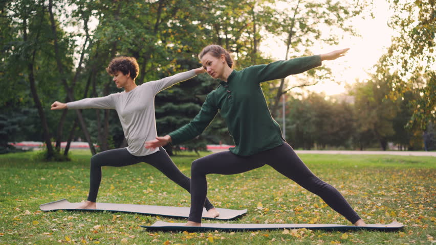 Two pretty women are doing yoga outdoors in park on mats practising asanas and breathing fresh air. Individual practice, professional instructor and nature concept. | Shutterstock HD Video #1016990746