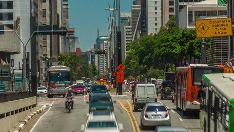 São Paulo/SP/Brazil - 01/14/2015: Traffic in the Paulista Avenue (Avenida Paulista).