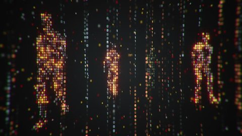 Abstract background with animation flickering binary digits and earth symbol walking human from binary digits. Animation of seamless loop.