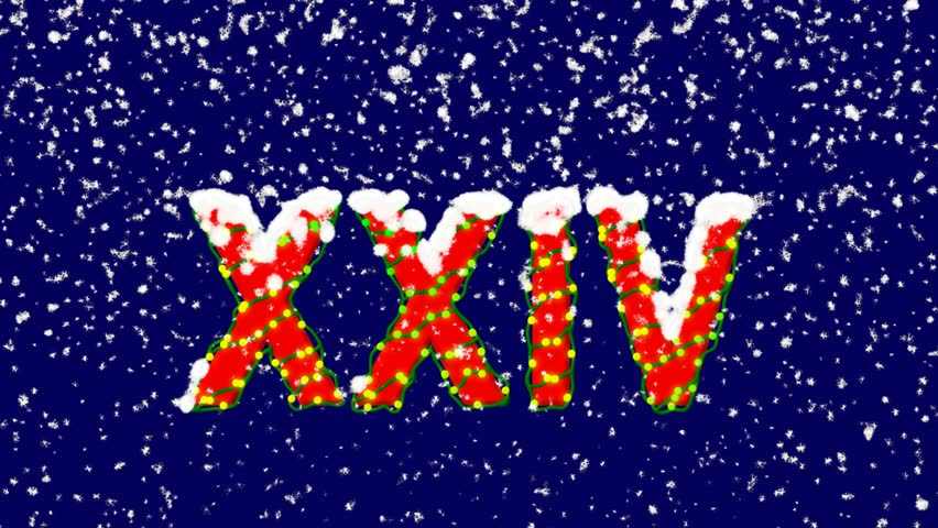 New Year text Roman numerals XXIV. Snow falls. Christmas mood, looped video. Alpha channel Premultiplied - Matted with deep blue RGB(04:00:5B) | Shutterstock HD Video #1017023326