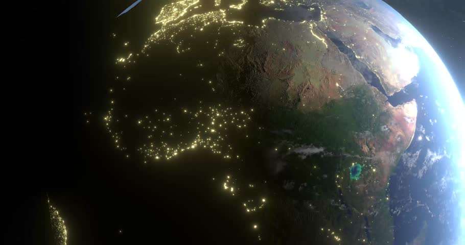 Beautiful animation of movement around Earth. Cities at night and sun to the right. | Shutterstock HD Video #1017028996