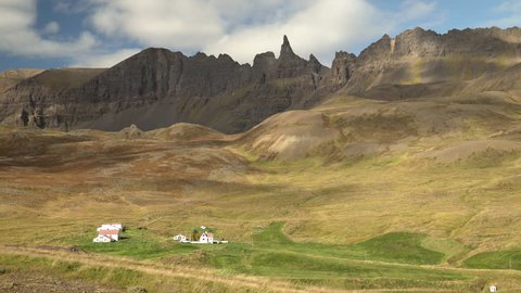 OXNADALUR, ICELAND - SEPT 2018 - Fall comes to the home farm of famous Icelandic poet Jonas Hallgrimsson