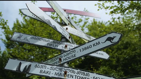 Road signs in various languages in Kutaisi Georgia, travel destinations, tourism
