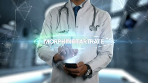 MORPHINE TARTRATE - Male Doctor With Mobile Phone Opens and Touches Hologram Active Ingrident of Medicine