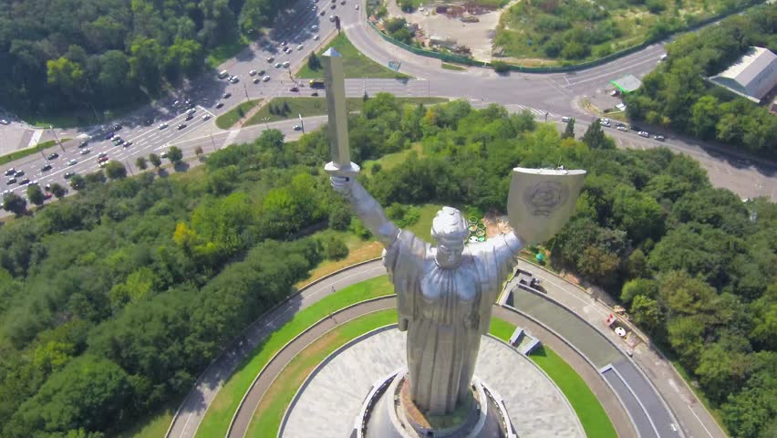 Kiev City - the capital of Ukraine. Kyiv. Mother Motherland, The monument is located on the banks of Dnieper River. Kiev, Ukraine Aerial view video footage