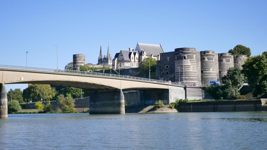 The Basse-Chaîne bridge crosses the Maine river in Angers between the Doutre district and the Château d'Angers (city castle), in Maine-et-Loire and the Pays de la Loire region, in France.