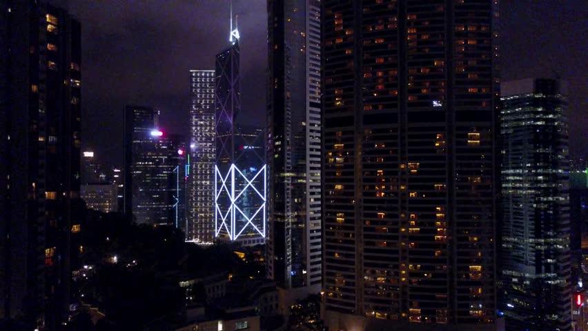 Hong Kong night skyscrapers drone  | Shutterstock HD Video #1017159106